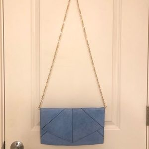 Blue crossbody clutch with removable chain